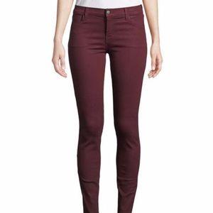 J Brand Noir Red Skinny Leg Jeans